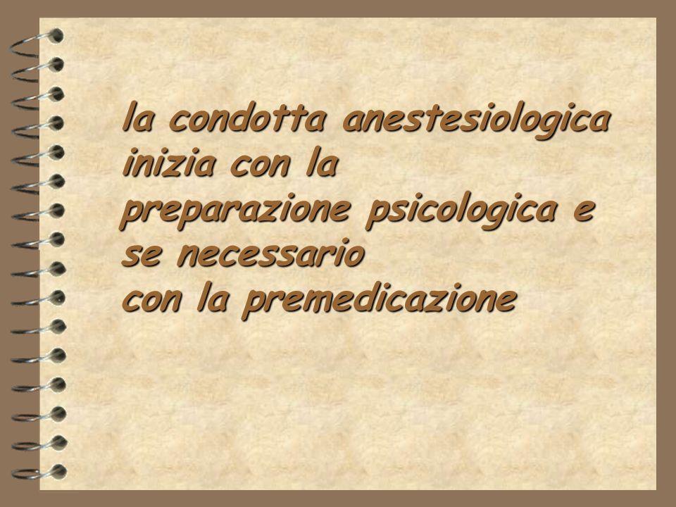 la condotta anestesiologica inizia con la preparazione psicologica e se necessario con la premedicazione
