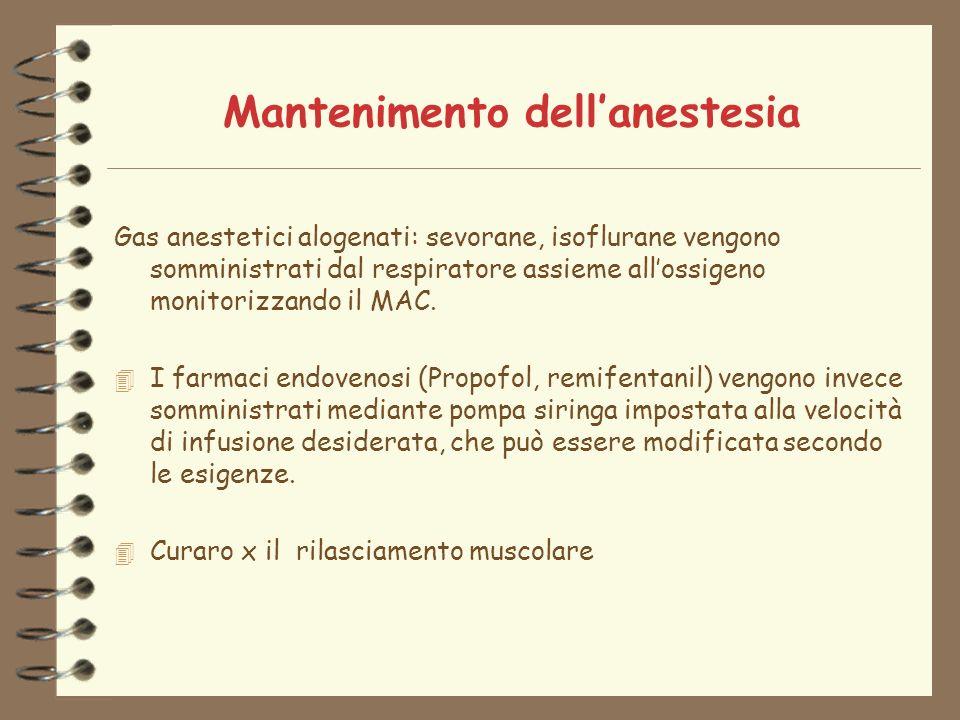 Mantenimento dellanestesia Gas anestetici alogenati: sevorane, isoflurane vengono somministrati dal respiratore assieme allossigeno monitorizzando il MAC.