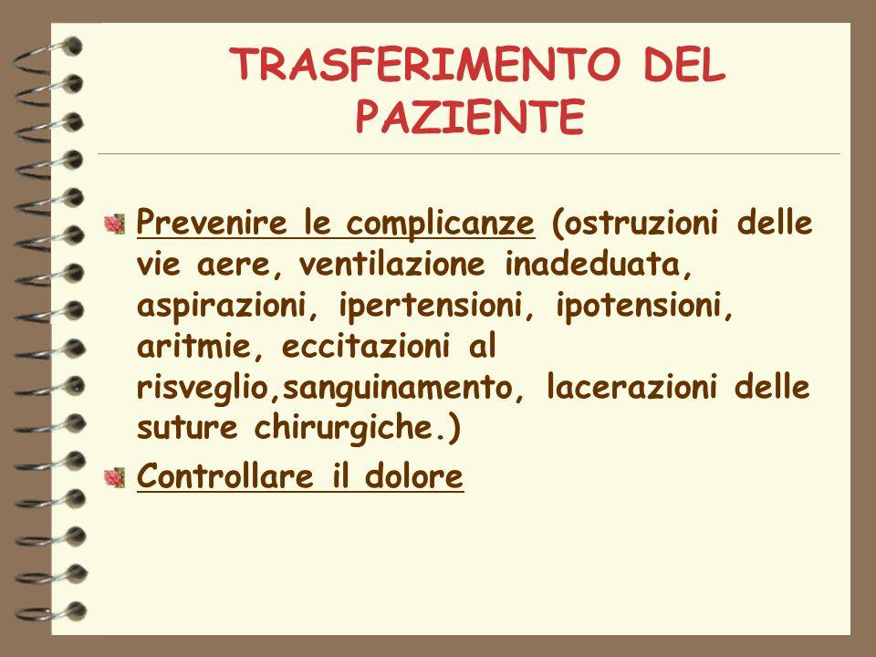TRASFERIMENTO DEL PAZIENTE Prevenire le complicanze (ostruzioni delle vie aere, ventilazione inadeduata, aspirazioni, ipertensioni, ipotensioni, aritmie, eccitazioni al risveglio,sanguinamento, lacerazioni delle suture chirurgiche.) Controllare il dolore