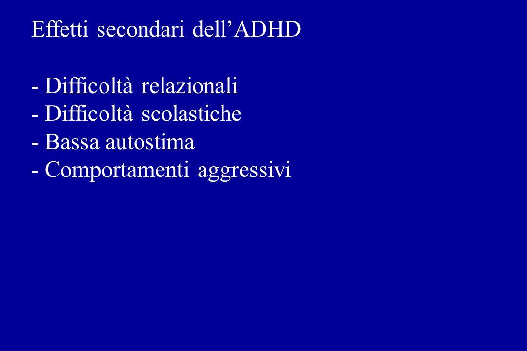 Effetti secondari dellADHD - Difficoltà relazionali - Difficoltà scolastiche - Bassa autostima - Comportamenti aggressivi