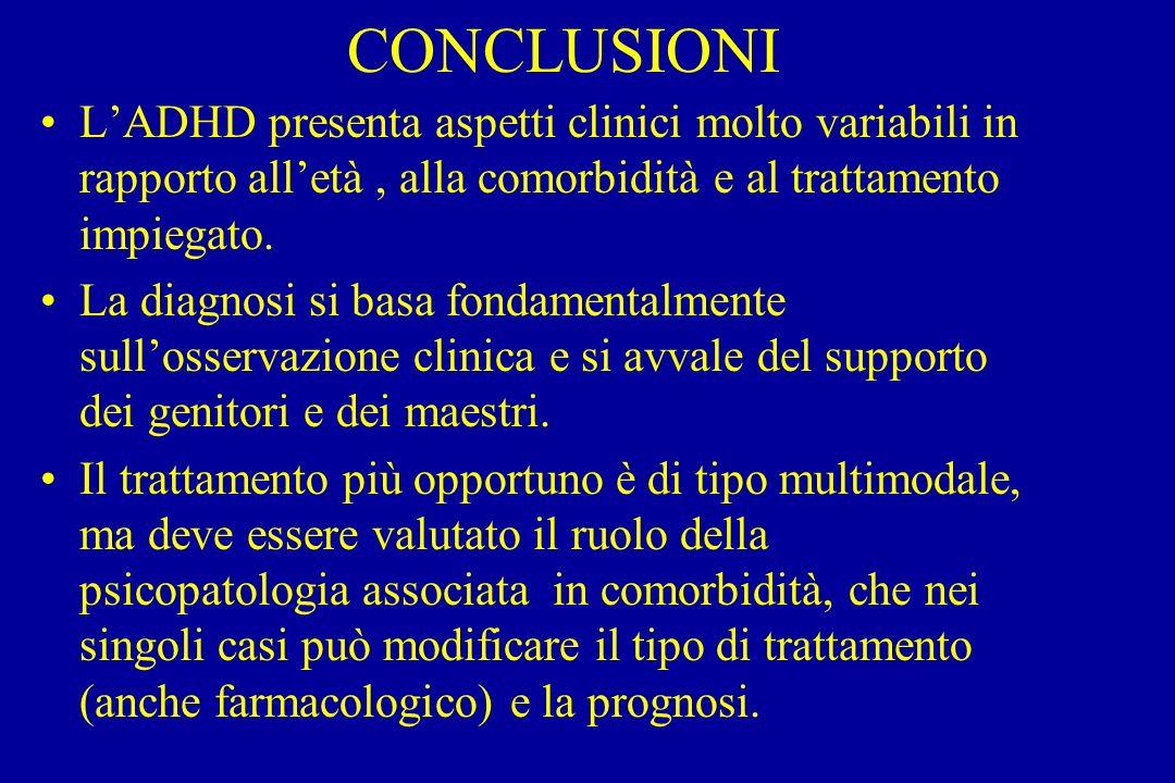 CONCLUSIONI LADHD presenta aspetti clinici molto variabili in rapporto alletà, alla comorbidità e al trattamento impiegato.