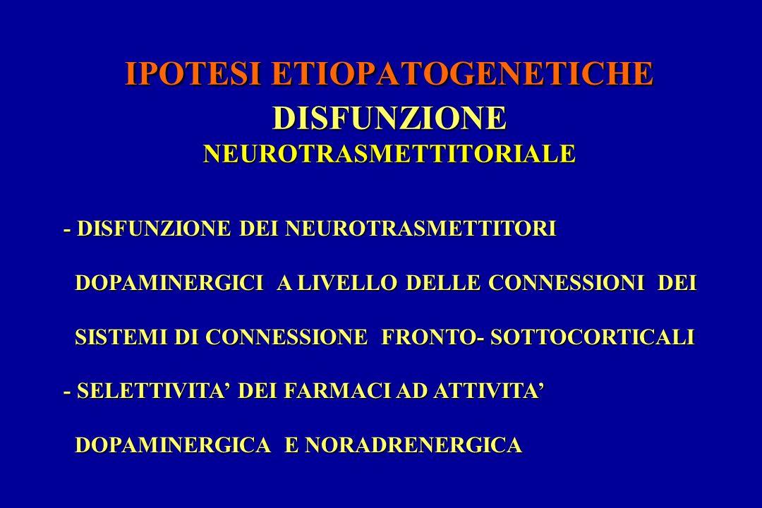 IPOTESI ETIOPATOGENETICHE DISFUNZIONE NEUROTRASMETTITORIALE - DISFUNZIONE DEI NEUROTRASMETTITORI DOPAMINERGICI A LIVELLO DELLE CONNESSIONI DEI DOPAMINERGICI A LIVELLO DELLE CONNESSIONI DEI SISTEMI DI CONNESSIONE FRONTO- SOTTOCORTICALI SISTEMI DI CONNESSIONE FRONTO- SOTTOCORTICALI - SELETTIVITA DEI FARMACI AD ATTIVITA DOPAMINERGICA E NORADRENERGICA DOPAMINERGICA E NORADRENERGICA