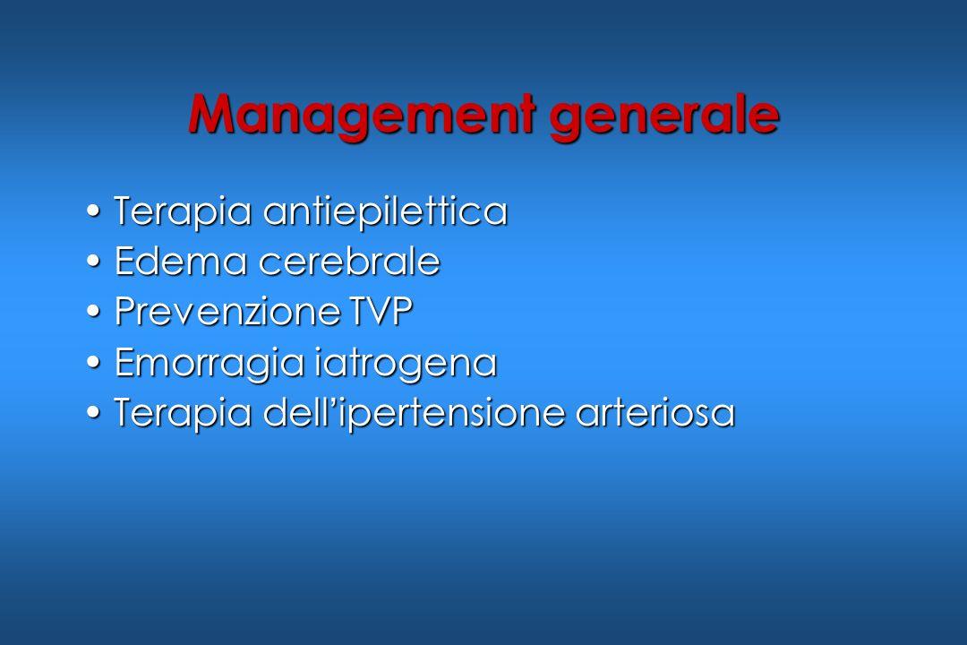 Management generale Terapia antiepiletticaTerapia antiepilettica Edema cerebraleEdema cerebrale Prevenzione TVPPrevenzione TVP Emorragia iatrogenaEmor