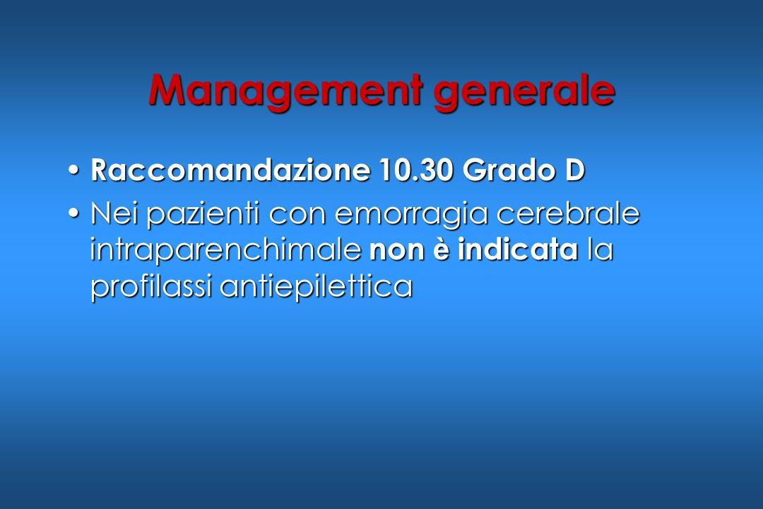 Management generale Raccomandazione 10.30 Grado D Raccomandazione 10.30 Grado D Nei pazienti con emorragia cerebrale intraparenchimale non è indicata