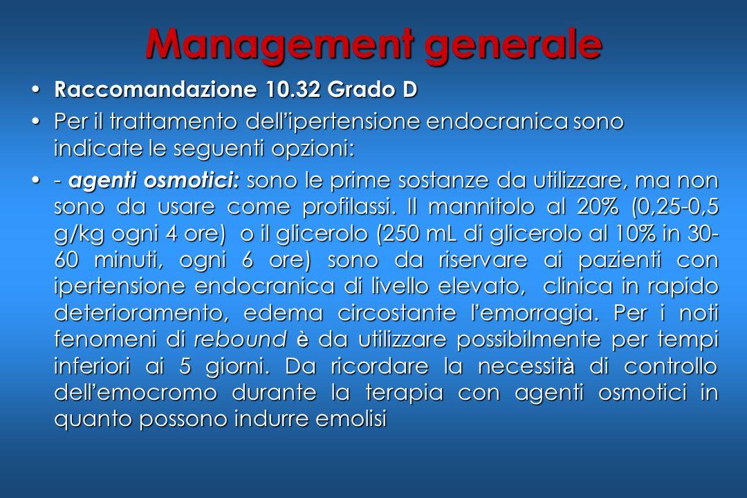 Raccomandazione 10.32 Grado D Raccomandazione 10.32 Grado D Per il trattamento dell ipertensione endocranica sono indicate le seguenti opzioni:Per il