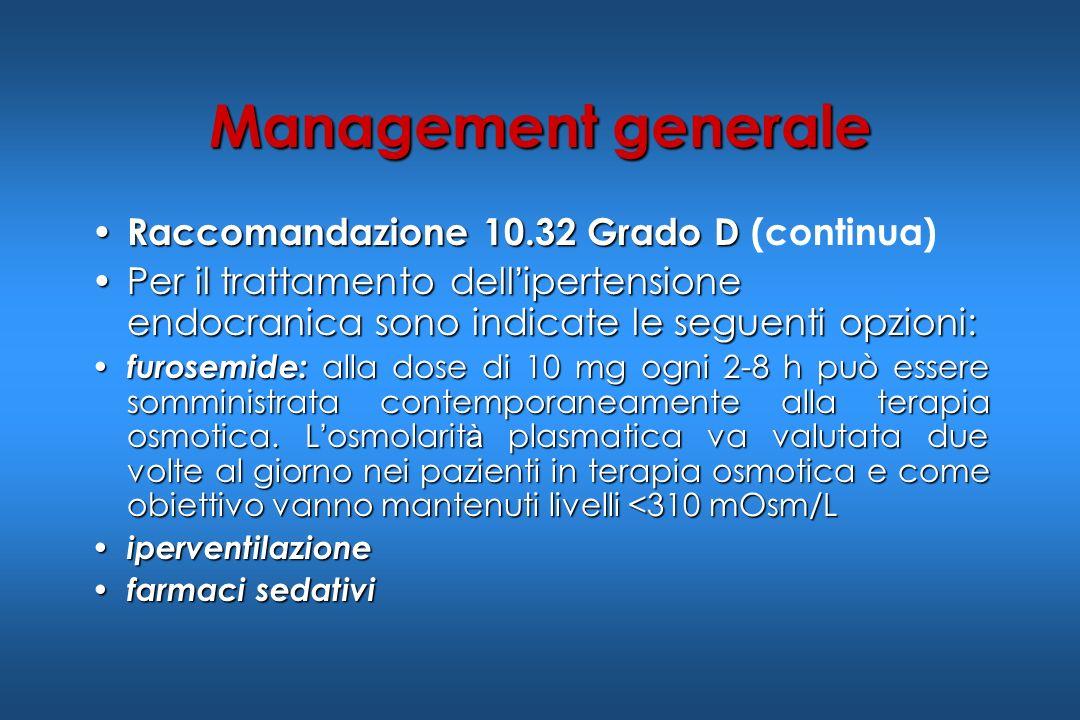 Raccomandazione 10.32 Grado D Raccomandazione 10.32 Grado D (continua) Per il trattamento dell ipertensione endocranica sono indicate le seguenti opzi