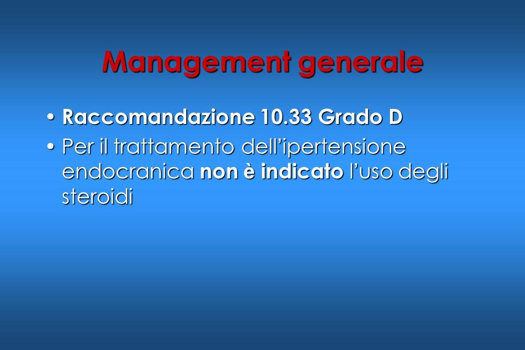 Raccomandazione 10.33 Grado D Raccomandazione 10.33 Grado D Per il trattamento dell ipertensione endocranica non è indicato l uso degli steroidiPer il