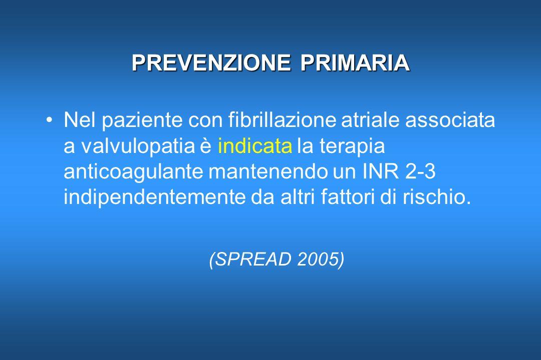 PREVENZIONE PRIMARIA Nel paziente con fibrillazione atriale associata a valvulopatia è indicata la terapia anticoagulante mantenendo un INR 2-3 indipe