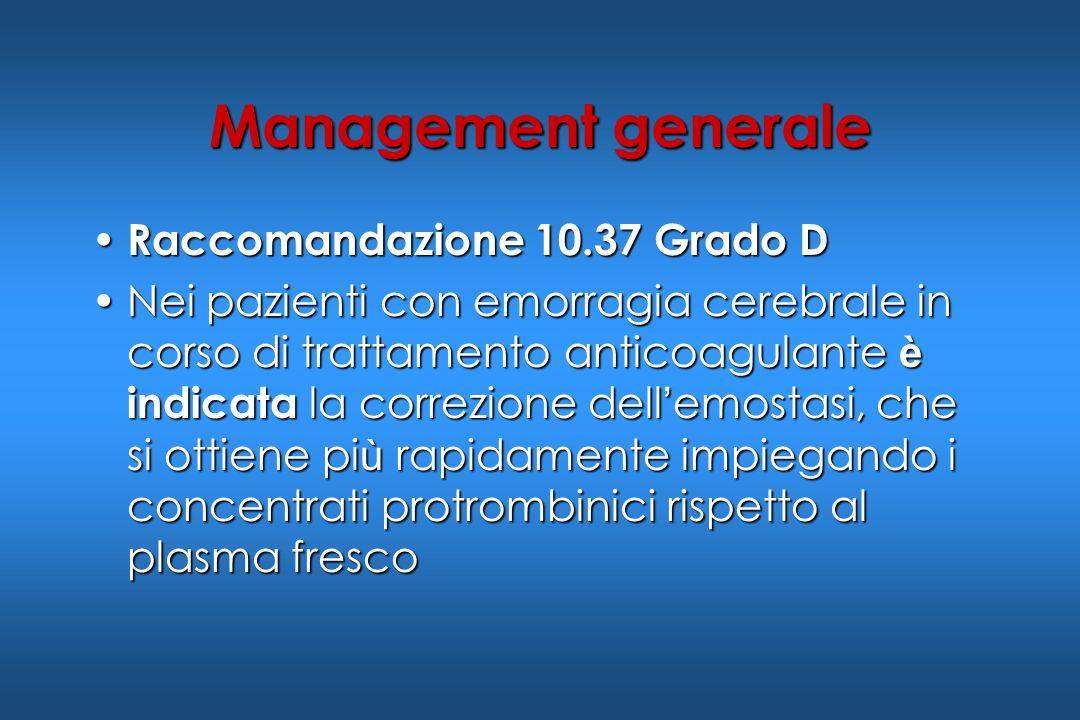 Raccomandazione 10.37 Grado D Raccomandazione 10.37 Grado D Nei pazienti con emorragia cerebrale in corso di trattamento anticoagulante è indicata la