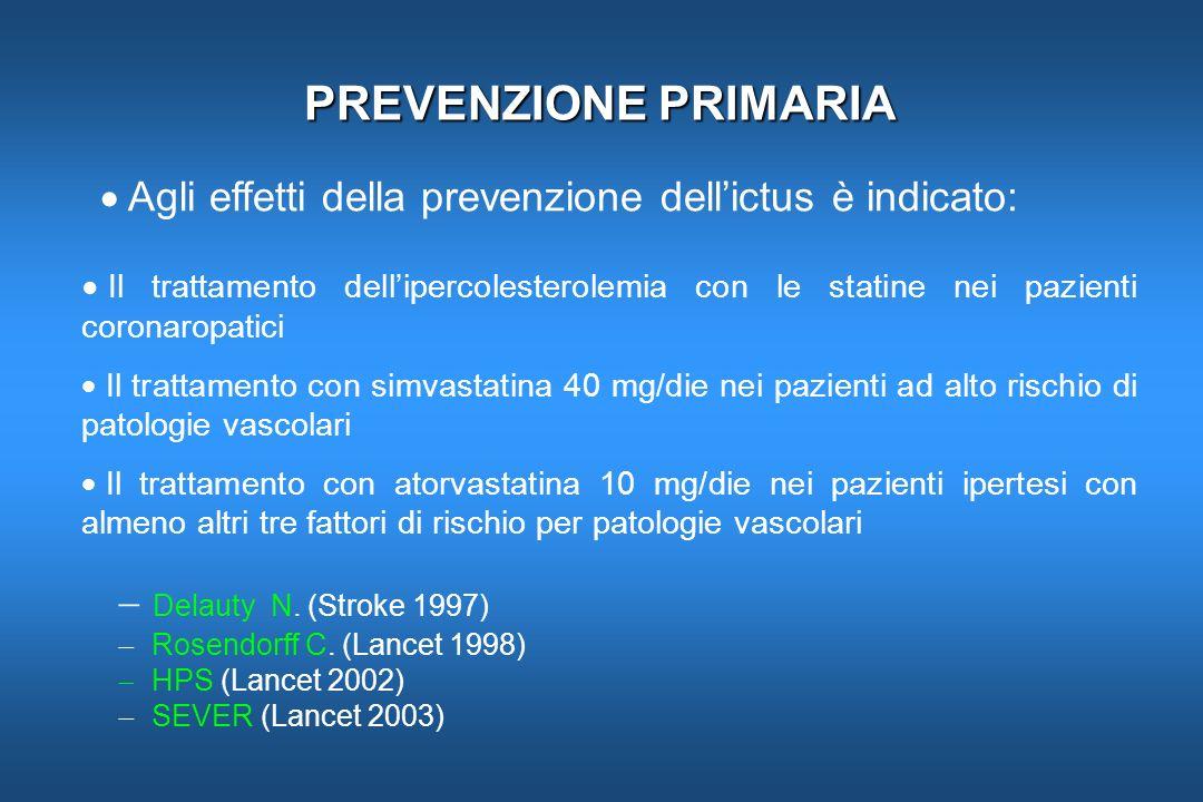 PREVENZIONE PRIMARIA Agli effetti della prevenzione dellictus è indicato: Il trattamento dellipercolesterolemia con le statine nei pazienti coronaropa