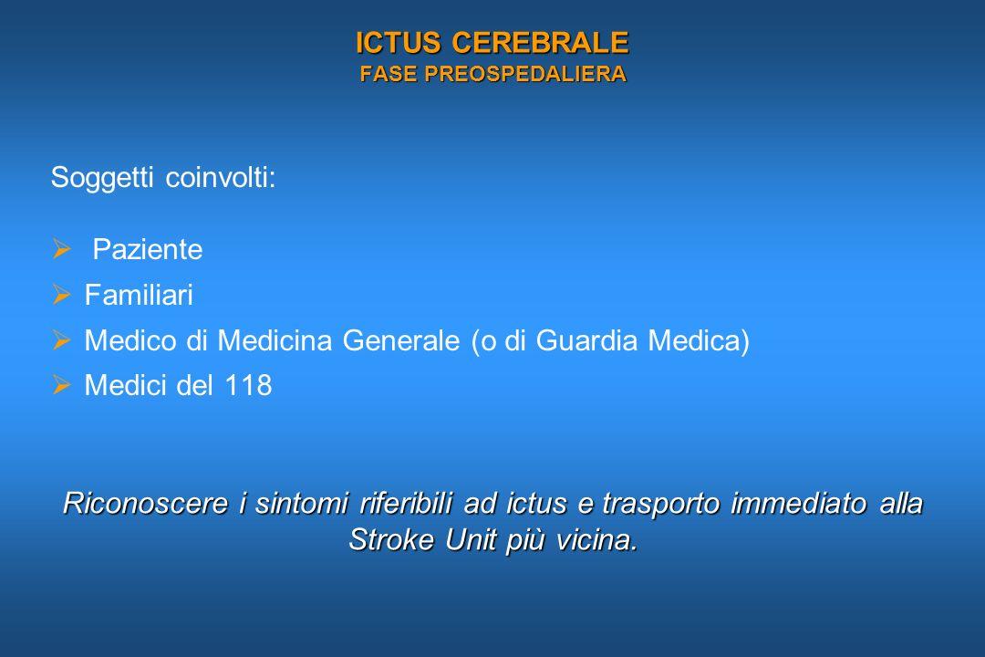ICTUS CEREBRALE FASE PREOSPEDALIERA Soggetti coinvolti: Paziente Familiari Medico di Medicina Generale (o di Guardia Medica) Medici del 118 Riconoscer