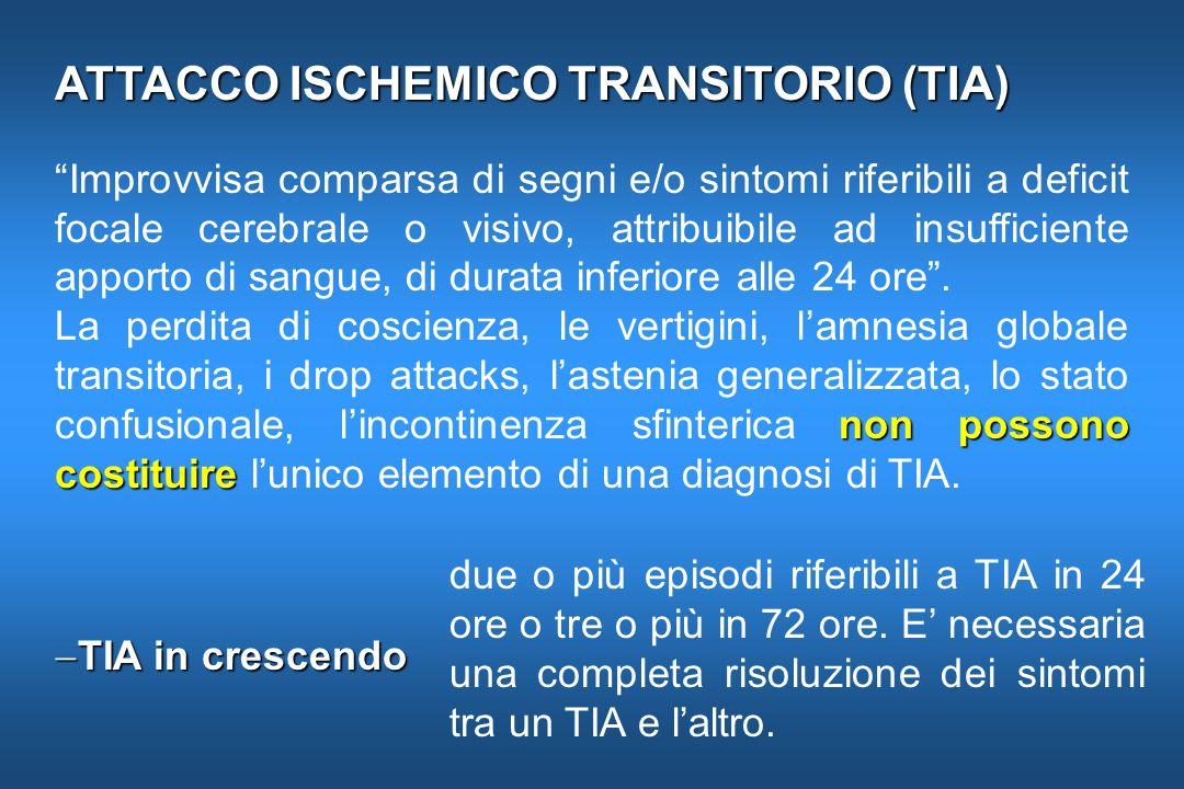 PREVENZIONE SECONDARIA A LUNGO TERMINE Nei TIA e nellictus ischemico non cardioembolico è indicato il trattamento antiaggregante con ASA 100-325 mg.