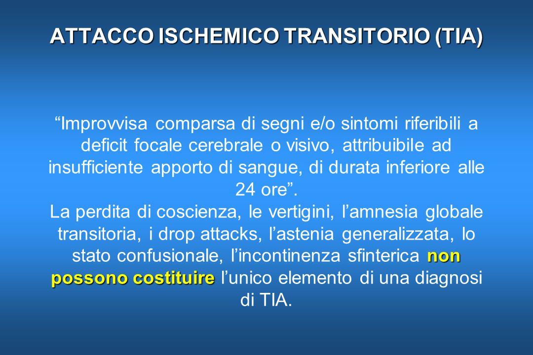 ATTACCO ISCHEMICO TRANSITORIO (TIA) non possono costituire ATTACCO ISCHEMICO TRANSITORIO (TIA) Improvvisa comparsa di segni e/o sintomi riferibili a d