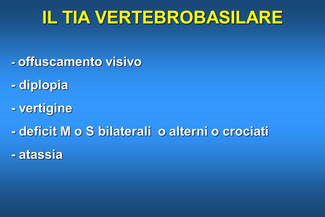 IL TIA VERTEBROBASILARE - offuscamento visivo - diplopia - vertigine - deficit M o S bilaterali o alterni o crociati - atassia