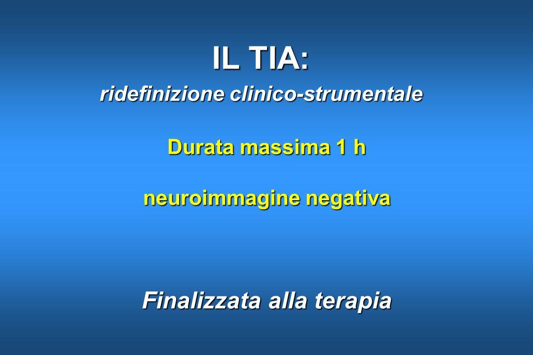 Durata massima 1 h neuroimmagine negativa Finalizzata alla terapia IL TIA: ridefinizione clinico-strumentale