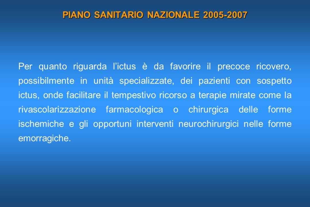 PIANO SANITARIO NAZIONALE 2005-2007 Per quanto riguarda lictus è da favorire il precoce ricovero, possibilmente in unità specializzate, dei pazienti c