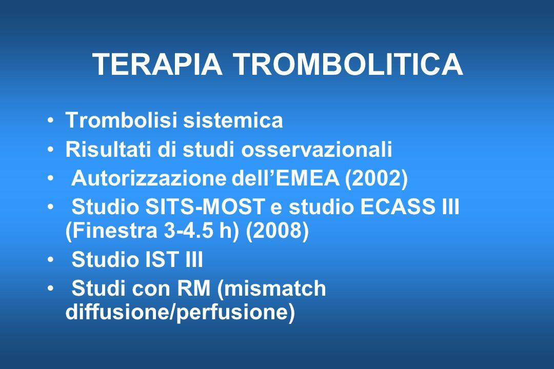 TERAPIA TROMBOLITICA Trombolisi sistemica Risultati di studi osservazionali Autorizzazione dellEMEA (2002) Studio SITS-MOST e studio ECASS III (Finest
