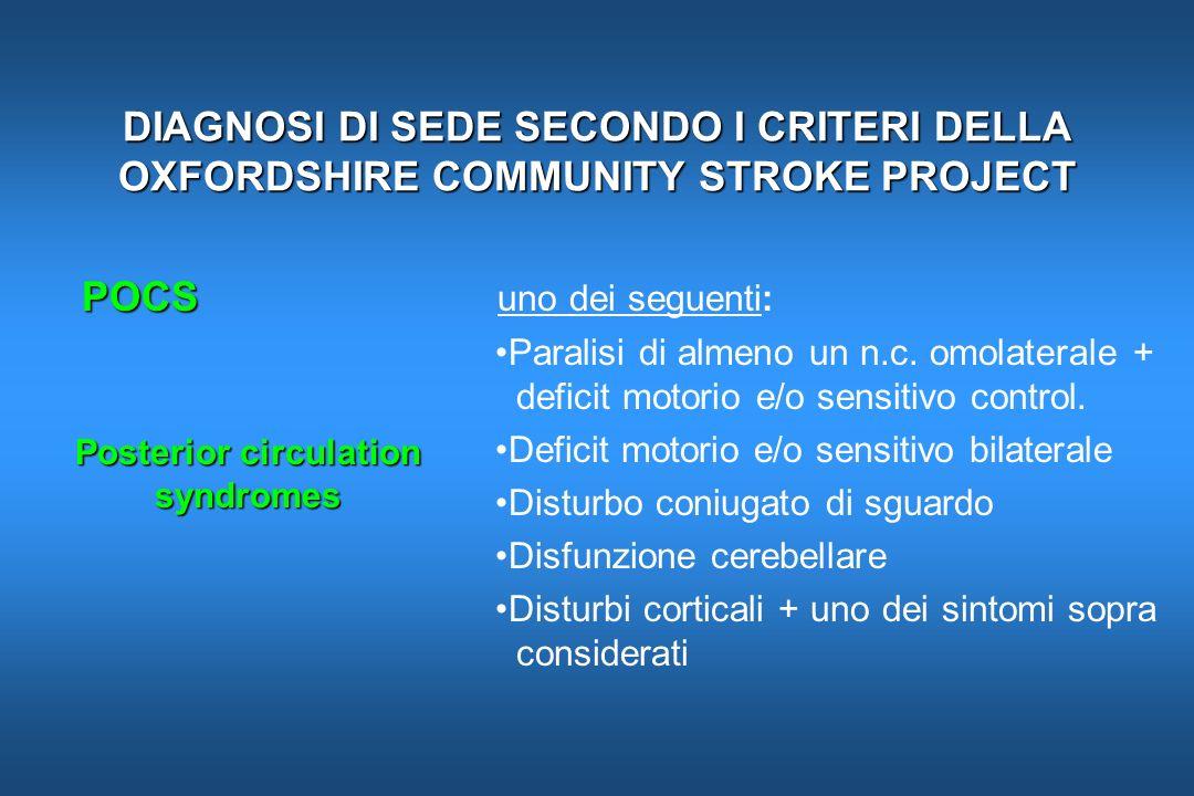 DIAGNOSI DI SEDE SECONDO I CRITERI DELLA OXFORDSHIRE COMMUNITY STROKE PROJECT POCS POCS uno dei seguenti: Paralisi di almeno un n.c. omolaterale + def