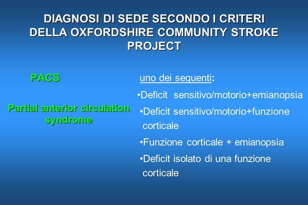 DIAGNOSI DI SEDE SECONDO I CRITERI DELLA OXFORDSHIRE COMMUNITY STROKE PROJECT PACS PACS uno dei seguenti: Deficit sensitivo/motorio+emianopsia Deficit