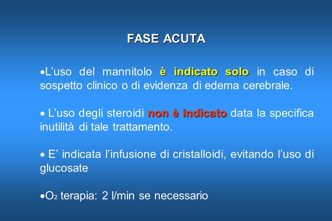 FASE ACUTA è indicato solo Luso del mannitolo è indicato solo in caso di sospetto clinico o di evidenza di edema cerebrale. non è indicato Luso degli