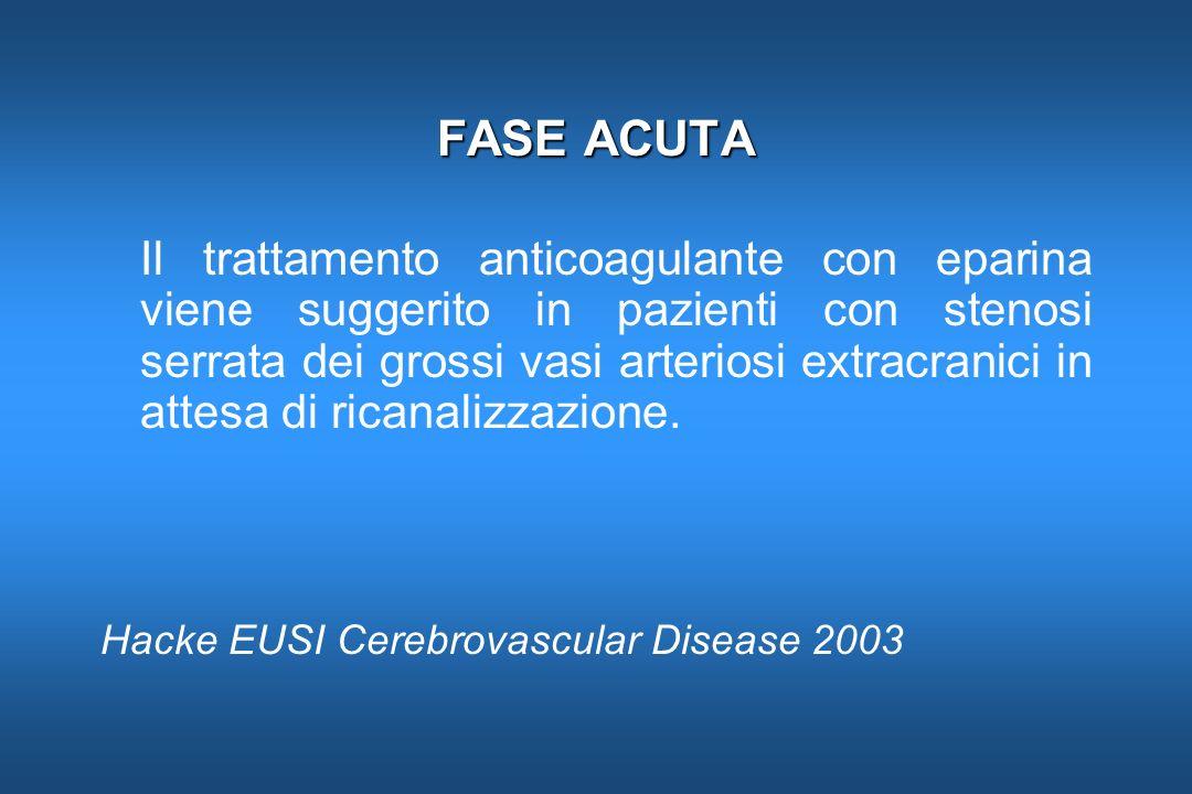 FASE ACUTA Il trattamento anticoagulante con eparina viene suggerito in pazienti con stenosi serrata dei grossi vasi arteriosi extracranici in attesa