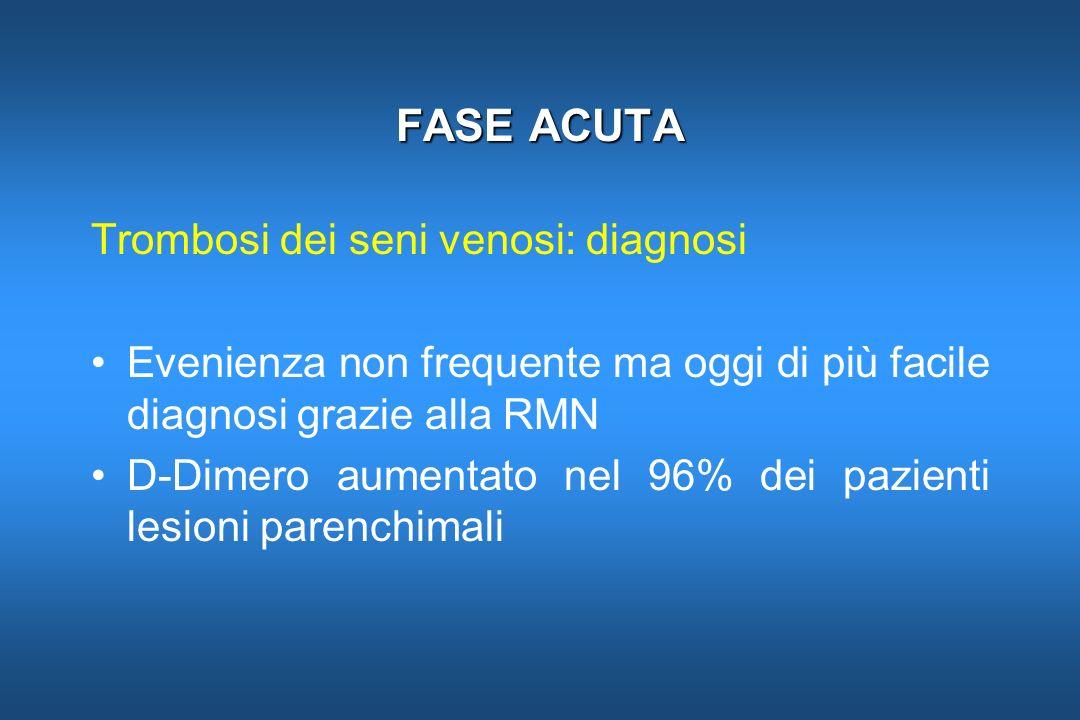 FASE ACUTA Trombosi dei seni venosi: diagnosi Evenienza non frequente ma oggi di più facile diagnosi grazie alla RMN D-Dimero aumentato nel 96% dei pa
