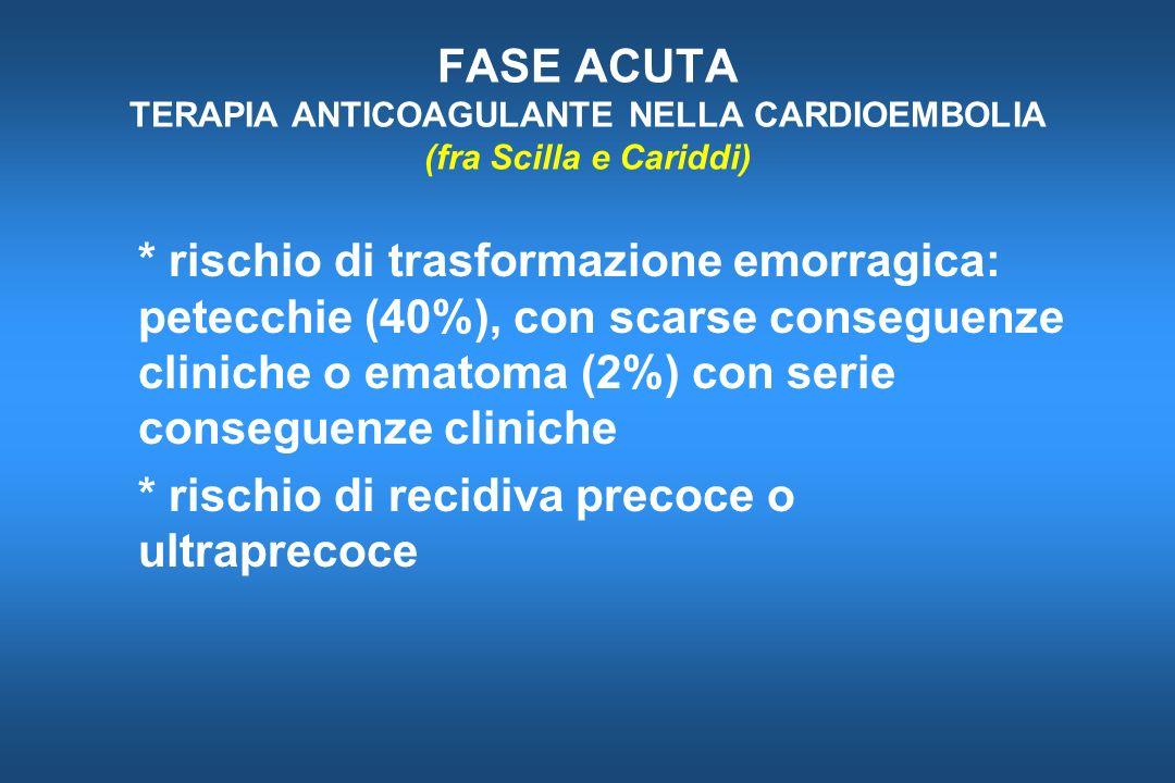 FASE ACUTA TERAPIA ANTICOAGULANTE NELLA CARDIOEMBOLIA (fra Scilla e Cariddi) * rischio di trasformazione emorragica: petecchie (40%), con scarse conse