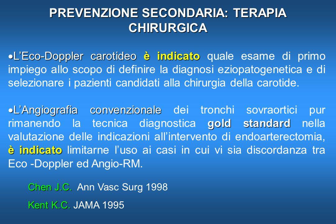 PREVENZIONE SECONDARIA: TERAPIA CHIRURGICA LEco-Doppler carotideoè indicato LEco-Doppler carotideo è indicato quale esame di primo impiego allo scopo