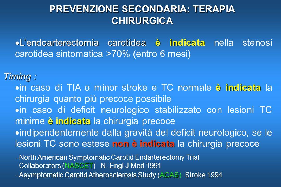 PREVENZIONE SECONDARIA: TERAPIA CHIRURGICA Lendoarterectomia carotideaè indicata Lendoarterectomia carotidea è indicata nella stenosi carotidea sintom