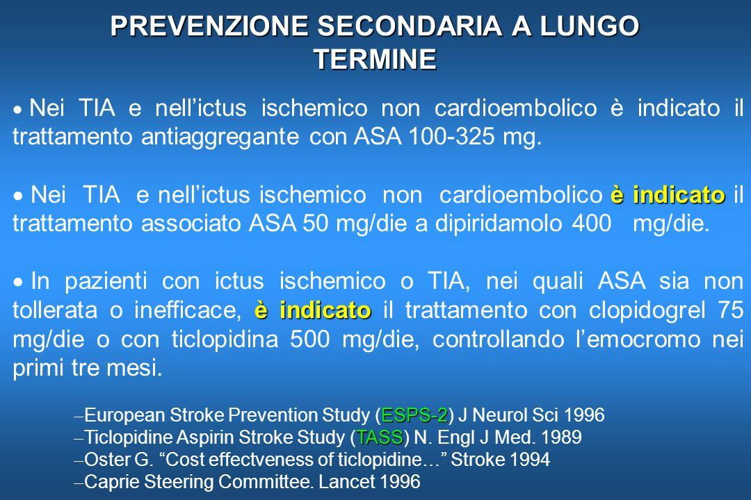 PREVENZIONE SECONDARIA A LUNGO TERMINE Nei TIA e nellictus ischemico non cardioembolico è indicato il trattamento antiaggregante con ASA 100-325 mg. è