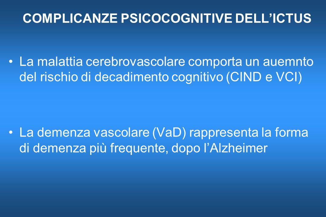 COMPLICANZE PSICOCOGNITIVE DELLICTUS La malattia cerebrovascolare comporta un auemnto del rischio di decadimento cognitivo (CIND e VCI) La demenza vas