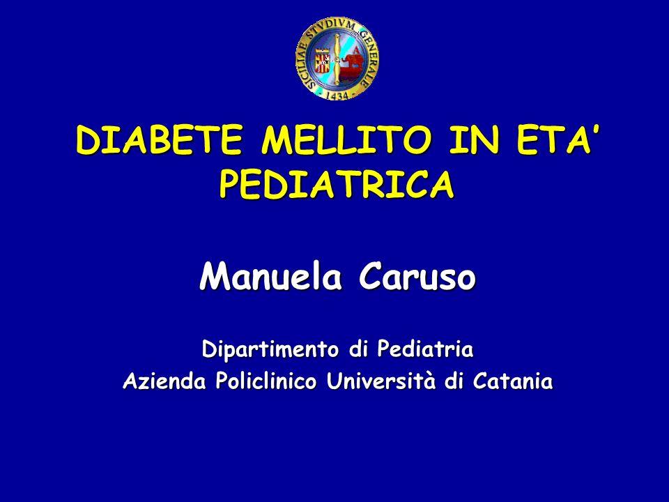 CLASSIFICAZIONE DEL DIABETE (American Diabetes Association) Diabete tipo 1 oT1DM (diabete insulino- dipendente; diabete giovanile) Diabete tipo 2 o T2DM (diabete non insulino-dipendente; diabete delladulto) Tipi specifici di diabete (MODY; LADA; Diabete mitocondriale) Diabete gestazionale