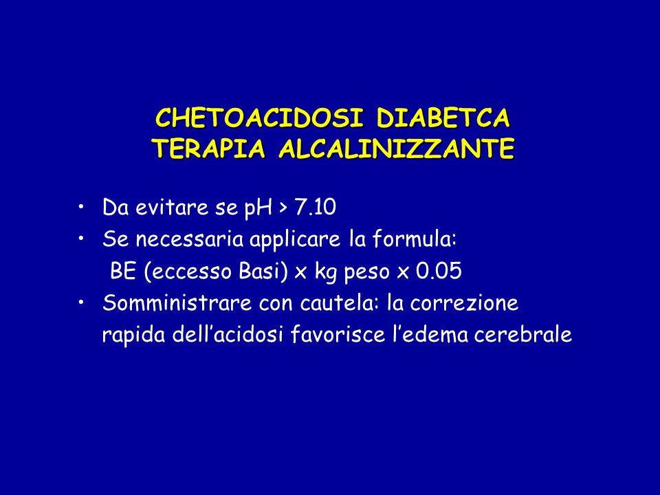 CHETOACIDOSI DIABETCA TERAPIA CON ELETTROLITI POTASSIO: somministrare (in presenza di diuresi) dalla 2°-3° ora, indipendentemente dal valore della kaliemia (no se iperkaliemia), alla dose di 0.1-0.2 mEq/kg/ora nei liquidi di infusione (50% KCl, 50% KPO4) SODIO: se > 150 mEq/l utilizzare NaCl 0.45%