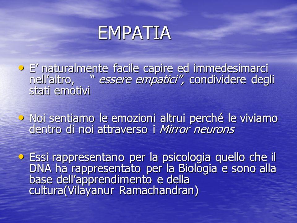 EMPATIA EMPATIA E naturalmente facile capire ed immedesimarci nellaltro, essere empatici, condividere degli stati emotivi E naturalmente facile capire