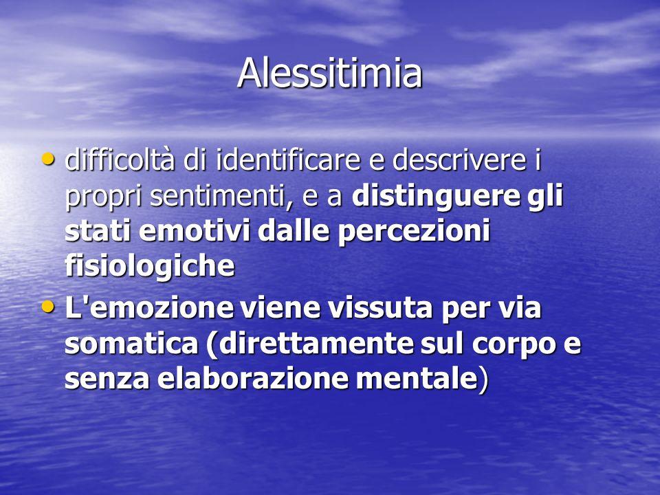 Alessitimia difficoltà di identificare e descrivere i propri sentimenti, e a distinguere gli stati emotivi dalle percezioni fisiologiche difficoltà di