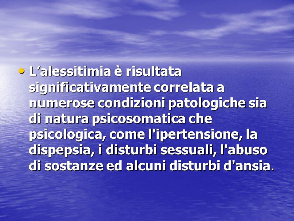 Lalessitimia è risultata significativamente correlata a numerose condizioni patologiche sia di natura psicosomatica che psicologica, come l'ipertensio