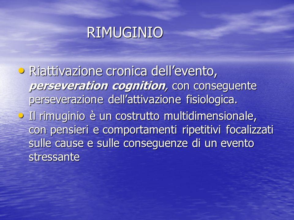 RIMUGINIO RIMUGINIO Riattivazione cronica dellevento, perseveration cognition, con conseguente perseverazione dellattivazione fisiologica. Riattivazio