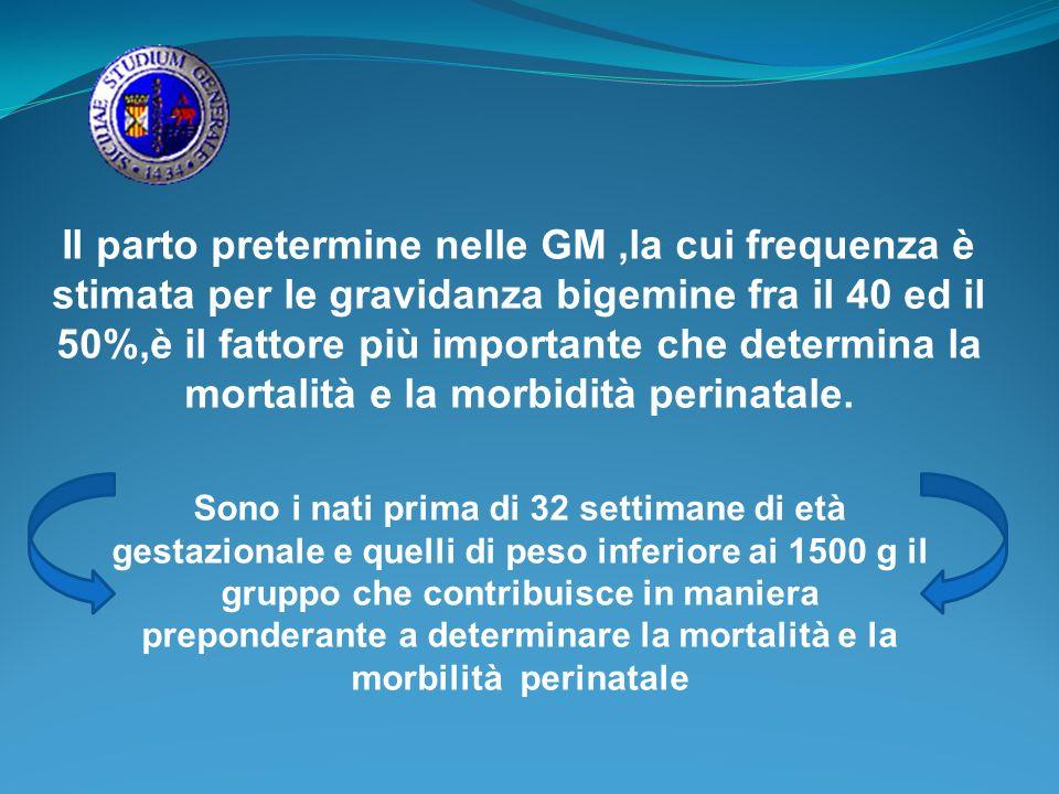 Il parto pretermine nelle GM,la cui frequenza è stimata per le gravidanza bigemine fra il 40 ed il 50%,è il fattore più importante che determina la mo