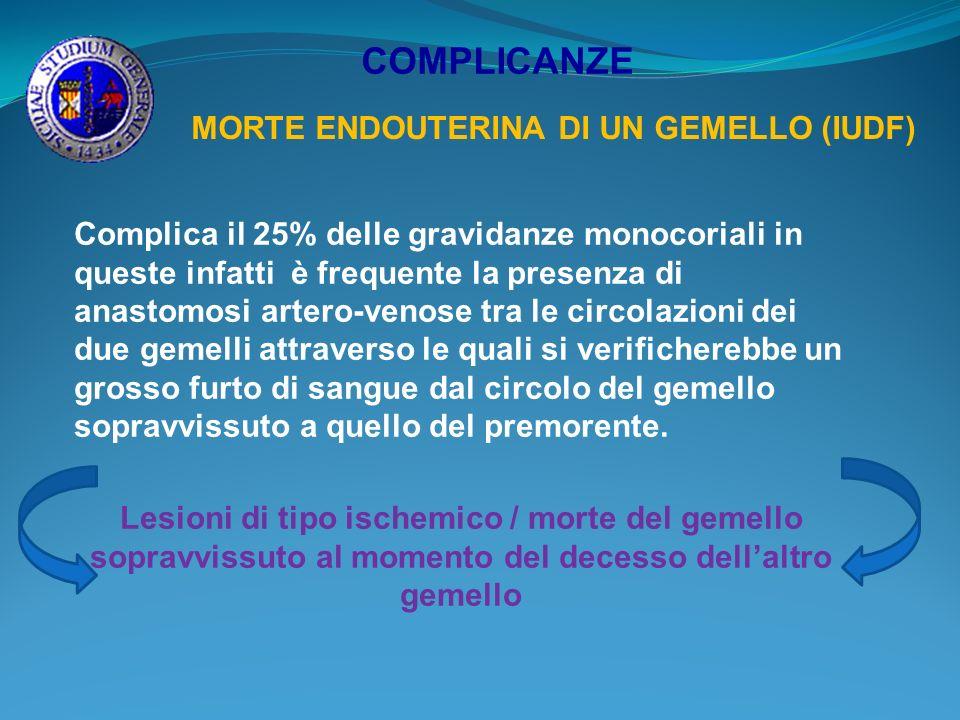 COMPLICANZE MORTE ENDOUTERINA DI UN GEMELLO (IUDF) Complica il 25% delle gravidanze monocoriali in queste infatti è frequente la presenza di anastomos