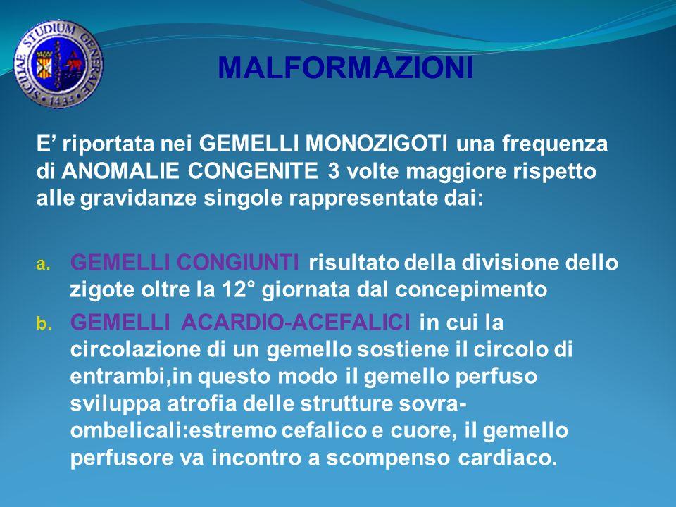 MALFORMAZIONI E riportata nei GEMELLI MONOZIGOTI una frequenza di ANOMALIE CONGENITE 3 volte maggiore rispetto alle gravidanze singole rappresentate d