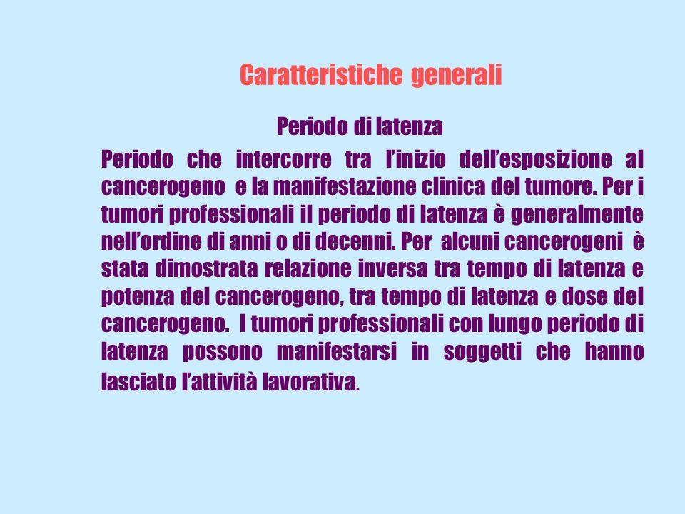 Caratteristiche generali Periodo di latenza Periodo che intercorre tra linizio dellesposizione al cancerogeno e la manifestazione clinica del tumore.