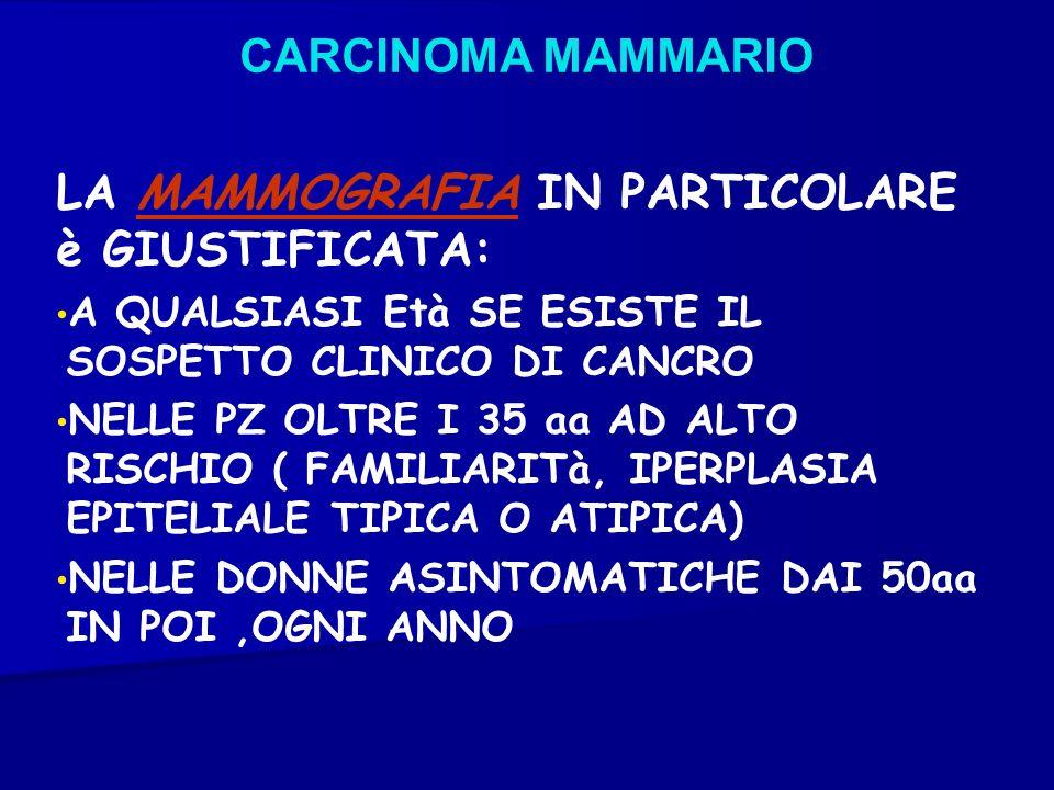 CARCINOMA MAMMARIO LA MAMMOGRAFIA IN PARTICOLARE è GIUSTIFICATA: A QUALSIASI Età SE ESISTE IL SOSPETTO CLINICO DI CANCRO NELLE PZ OLTRE I 35 aa AD ALT