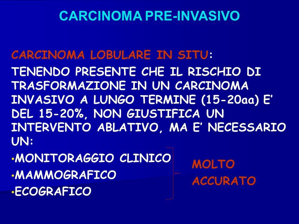 CARCINOMA PRE-INVASIVO CARCINOMA LOBULARE IN SITU: TENENDO PRESENTE CHE IL RISCHIO DI TRASFORMAZIONE IN UN CARCINOMA INVASIVO A LUNGO TERMINE (15-20aa
