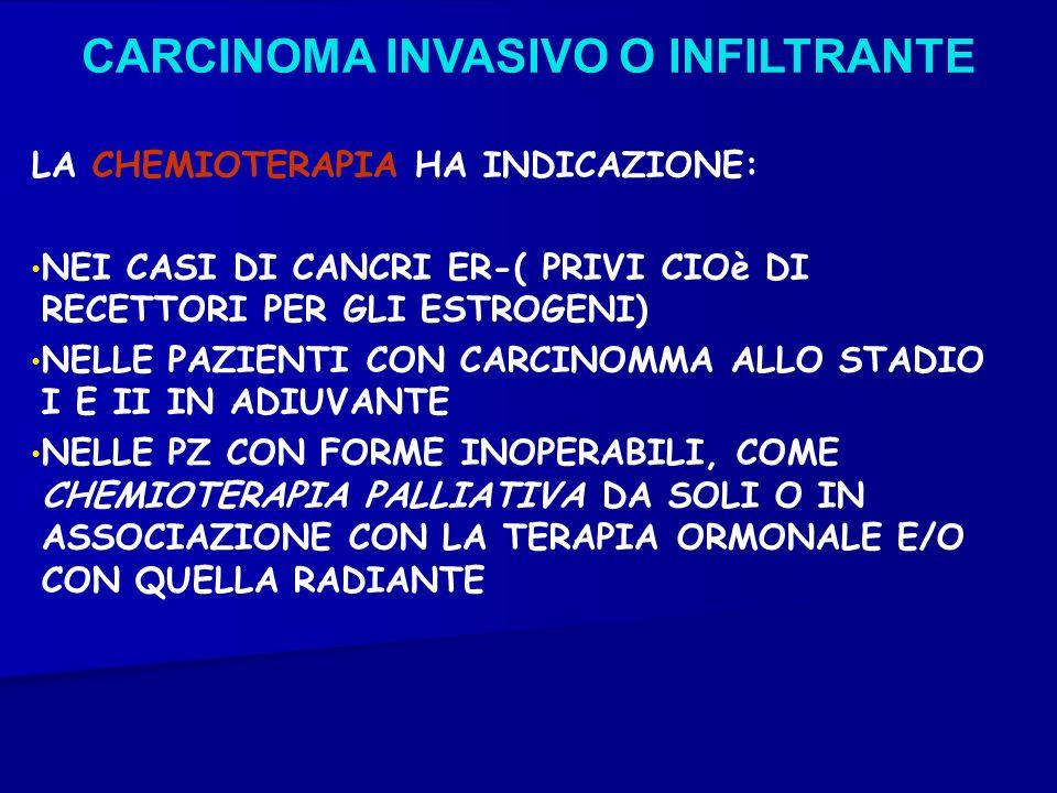 CARCINOMA INVASIVO O INFILTRANTE LA CHEMIOTERAPIA HA INDICAZIONE: NEI CASI DI CANCRI ER-( PRIVI CIOè DI RECETTORI PER GLI ESTROGENI) NELLE PAZIENTI CO