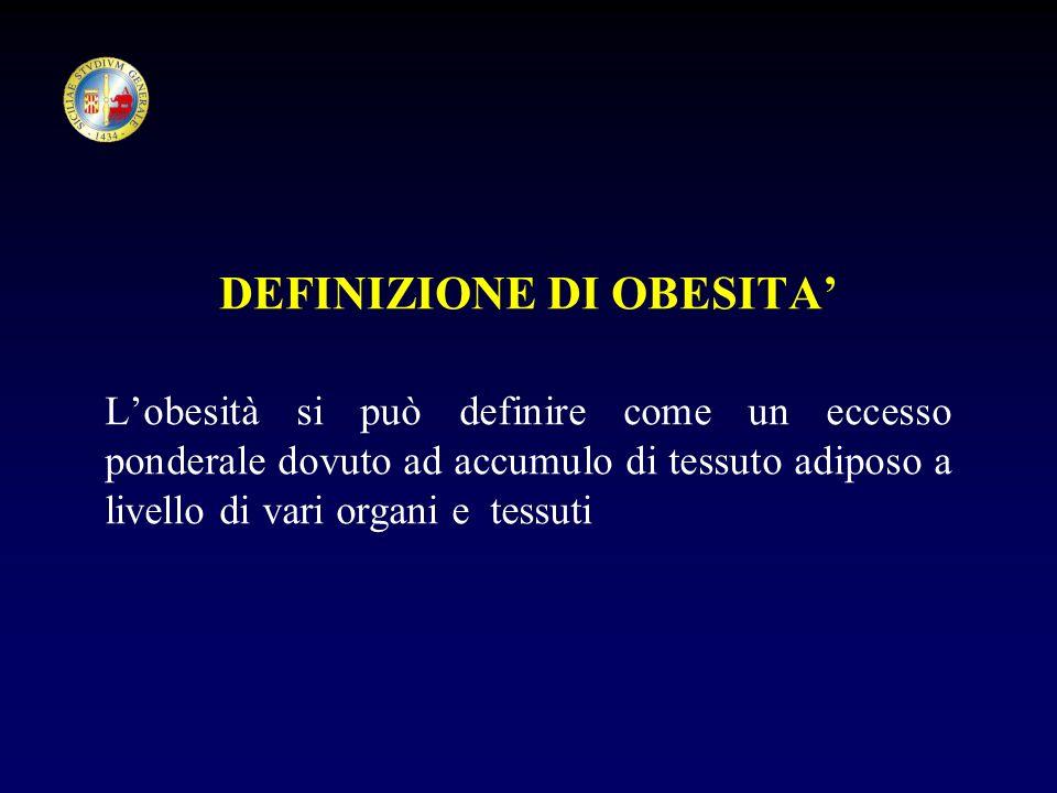 DEFINIZIONE DI OBESITA Lobesità si può definire come un eccesso ponderale dovuto ad accumulo di tessuto adiposo a livello di vari organi e tessuti