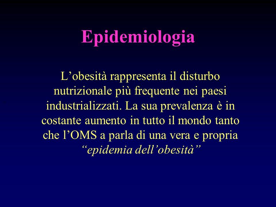 Epidemiologia Lobesità rappresenta il disturbo nutrizionale più frequente nei paesi industrializzati. La sua prevalenza è in costante aumento in tutto