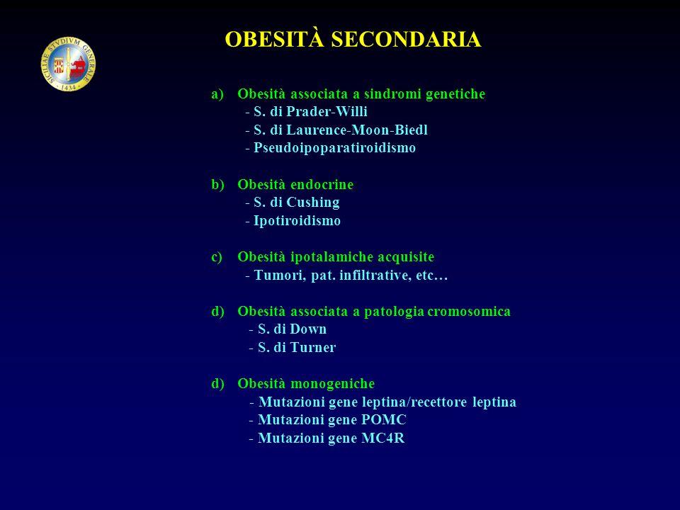 OBESITÀ SECONDARIA a)Obesità associata a sindromi genetiche - S. di Prader-Willi - S. di Laurence-Moon-Biedl - Pseudoipoparatiroidismo b)Obesità endoc
