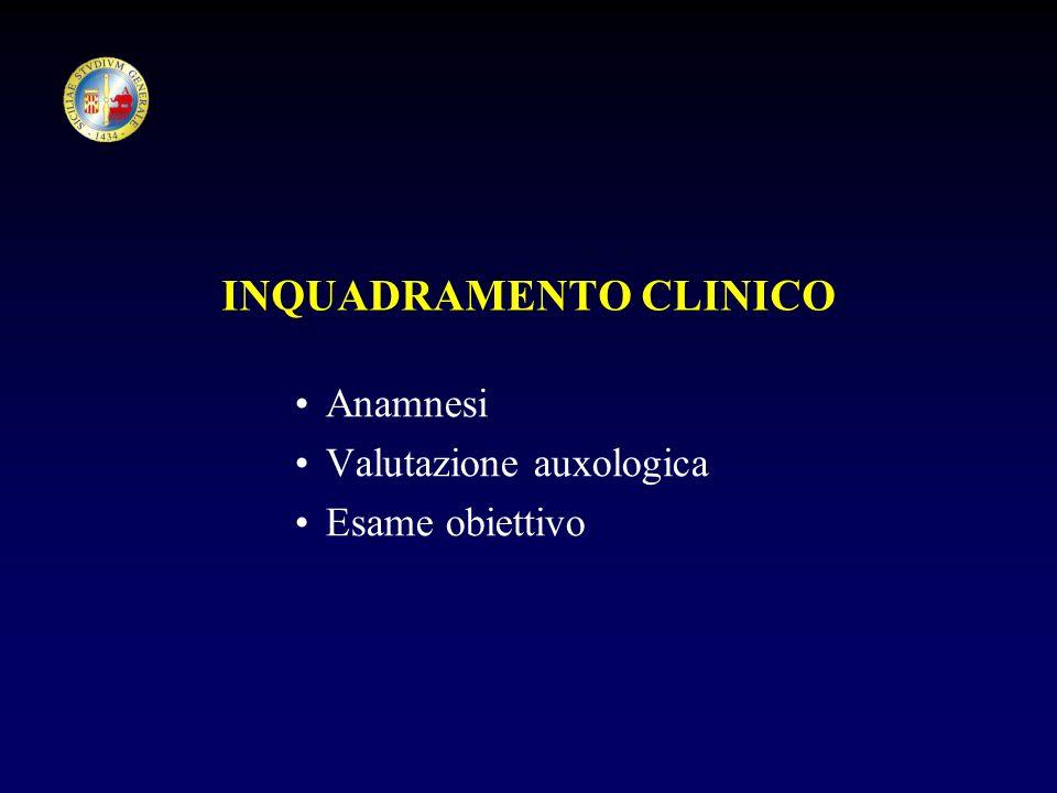 INQUADRAMENTO CLINICO Anamnesi Valutazione auxologica Esame obiettivo
