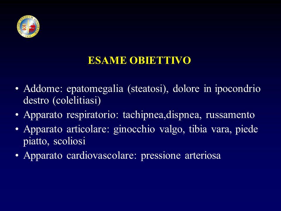 ESAME OBIETTIVO Addome: epatomegalia (steatosi), dolore in ipocondrio destro (colelitiasi) Apparato respiratorio: tachipnea,dispnea, russamento Appara