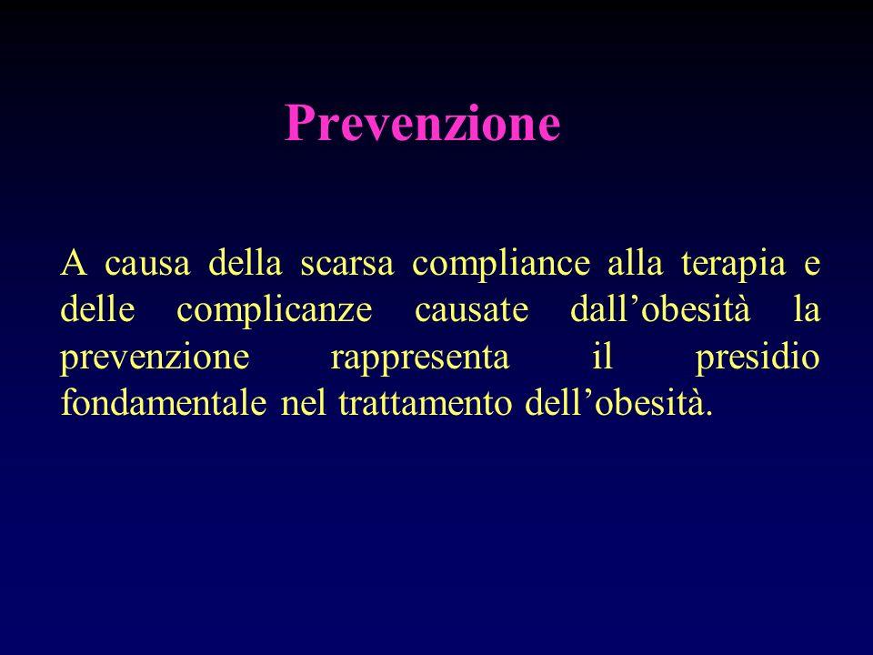 Prevenzione A causa della scarsa compliance alla terapia e delle complicanze causate dallobesità la prevenzione rappresenta il presidio fondamentale n